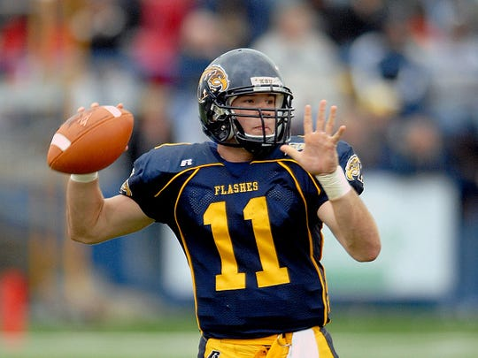 Quarterback Julian Edelman of the Kent State Golden Flashes throws a pass during a game against the Akron Zips on September 30, 2006 at Dix Stadium in Kent, Ohio. Kent State won 37-15.