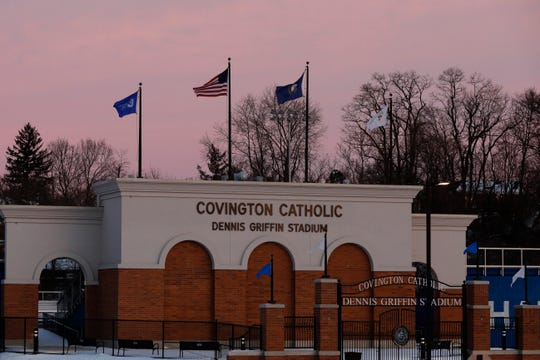 Covington Catholic High School which is closed Tuesday, Jan. 22, 2019, in Park Hills, Ky. Tuesday was the first day scheduled for students to be back in school after an incident in Washington DC when students were filmed in an altercation with a Native American man.
