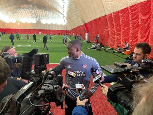 FC Cincinnati forward Fanendo Adi meets with media members following FC Cincinnati's first practice of the 2019 preseason Jan. 22, 2019.