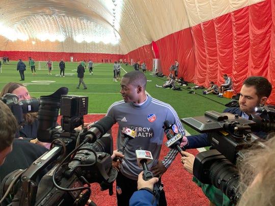 FC Cincinnati forward Fanendo Adi meets with media members following FC Cincinnati's first practice of the 2019 preseason Jan. 22, 2019.