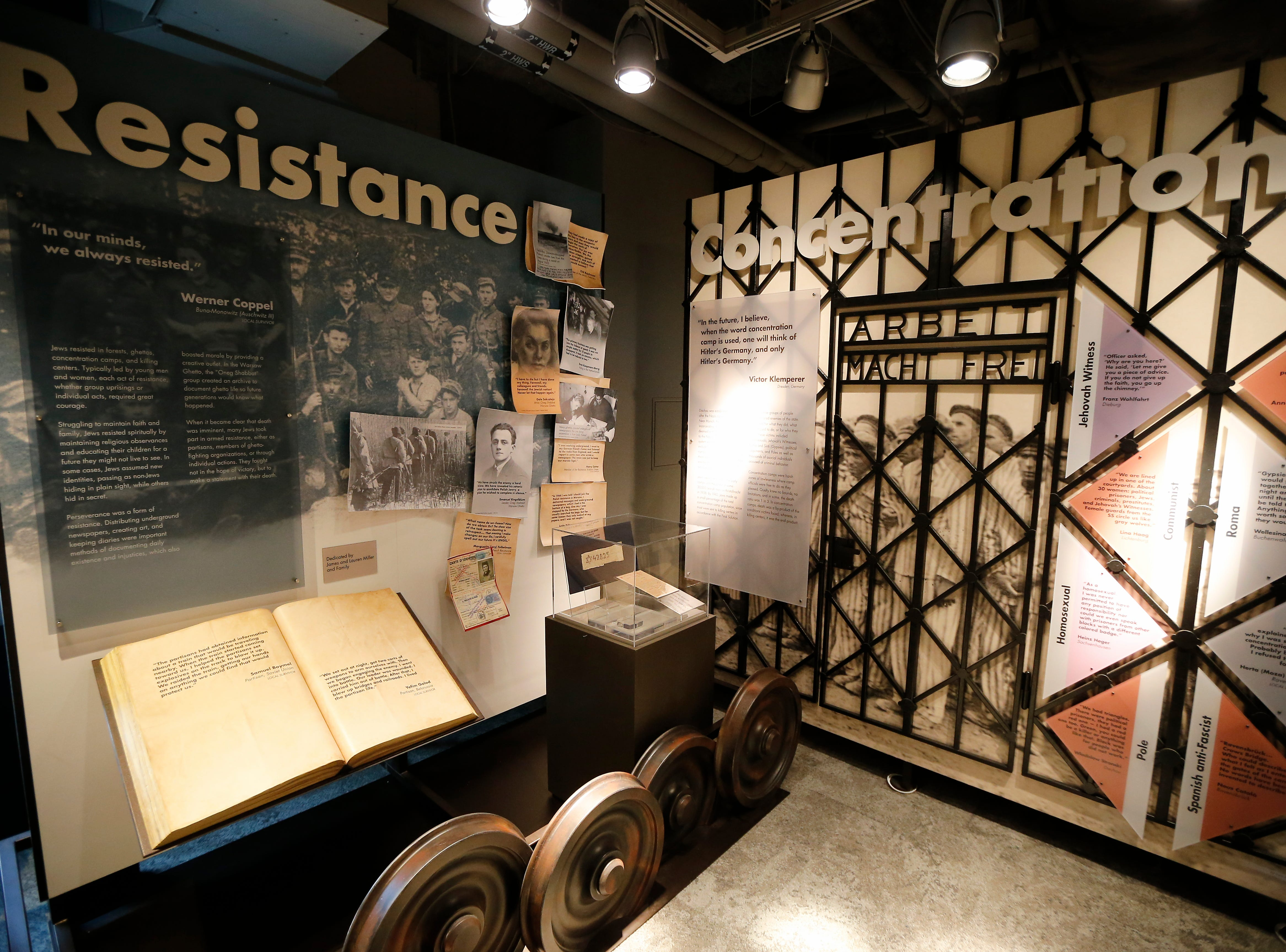 A display showing the time periods during the Holocaust is shown in the new Holocaust and Humanity Center at the Cincinnati Museum Center in the Queensgate neighborhood of Cincinnati on Tuesday, Jan. 22, 2019. The new exhibit covering the events before, during and after the Holocaust will be open to the public Jan. 27.
