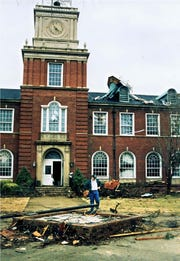 The tornado ripped up trees, damaged roofs and sent cars spinning at Austin Peay State University on Jan. 22, 1999.