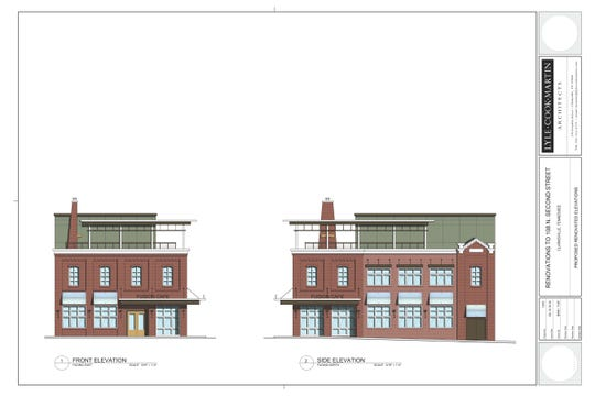 Plans for the downtown Clarksville Dabbs building are drawn.
