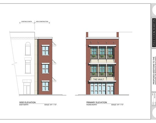 Plans for the downtown Clarksville Knights of Pythias Building rehab project are drawn.