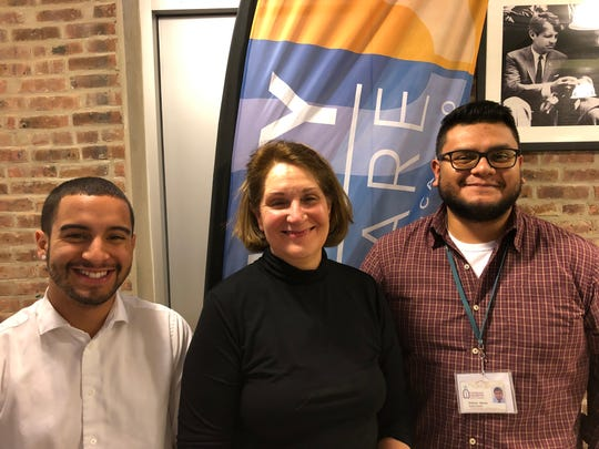Unity Square staff (left to right)Erio Rosario-Perales, Jennifer Hinton and Anthony Mendia stand outside the Unity Square Community Center in New Brunswick prior to an information session on Wednesday, Jan.16,facilitated by Rising Tide Capital about its community business academy. Entrepreneurship among community members is just one of the goals of the Unity Square Community Development and Social Concerns Initiative operated by Catholic Charities, Diocese of Metuchen.