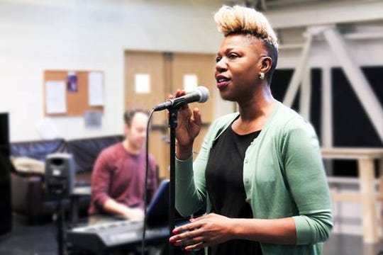 "Writer-star Laiona Michelle rehearses a number for ""Little Girl Blue -- The Nina Simone Musical"" running Jan. 29 to Feb. 24 at George Street Playhouse in New Brunswick."