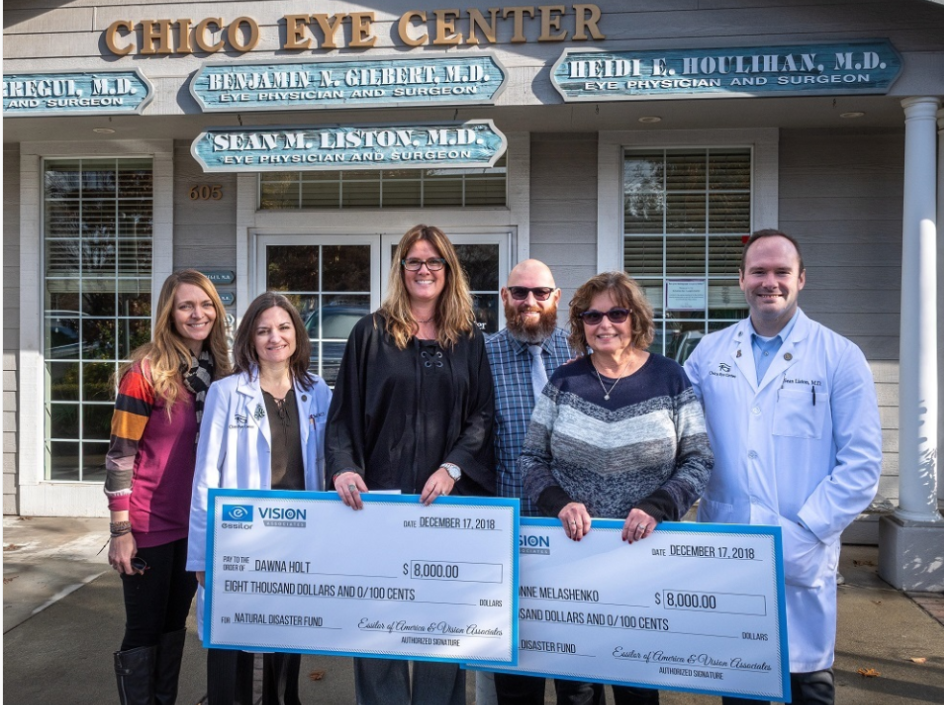 (Left to right) Cecilia Mialon fundraiser; Heidi Houlihan, MD, physician at Chico Eye Center; Dawna Holt, affected employee; Bryan Xavier, fundraiser; Lavonne Melashenko, affected employee; and Sean Liston, MD, physician at Chico Eye Center.