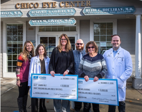 (Left to right)Cecilia Mialon fundraiser;Heidi Houlihan, MD, physician at Chico Eye Center;Dawna Holt, affected employee;Bryan Xavier, fundraiser;Lavonne Melashenko, affected employee;and Sean Liston, MD, physician at Chico Eye Center.
