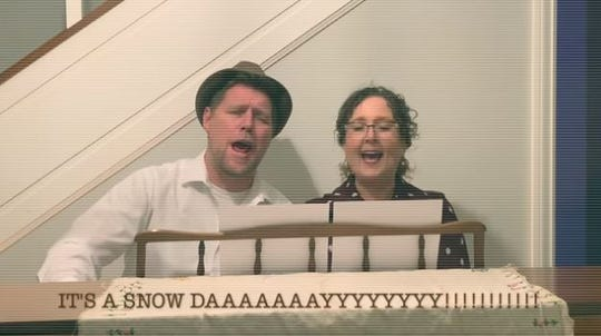 DMPS Superintendent Thomas Ahart and his wife, Jami Bassman Ahart, sing their snow day announcement in this video, posted to social media on Tuesday morning.