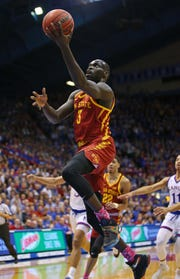 Iowa State Cyclones guard Marial Shayok (3) shoots a layup against the Kansas Jayhawks in the first half at Allen Fieldhouse.
