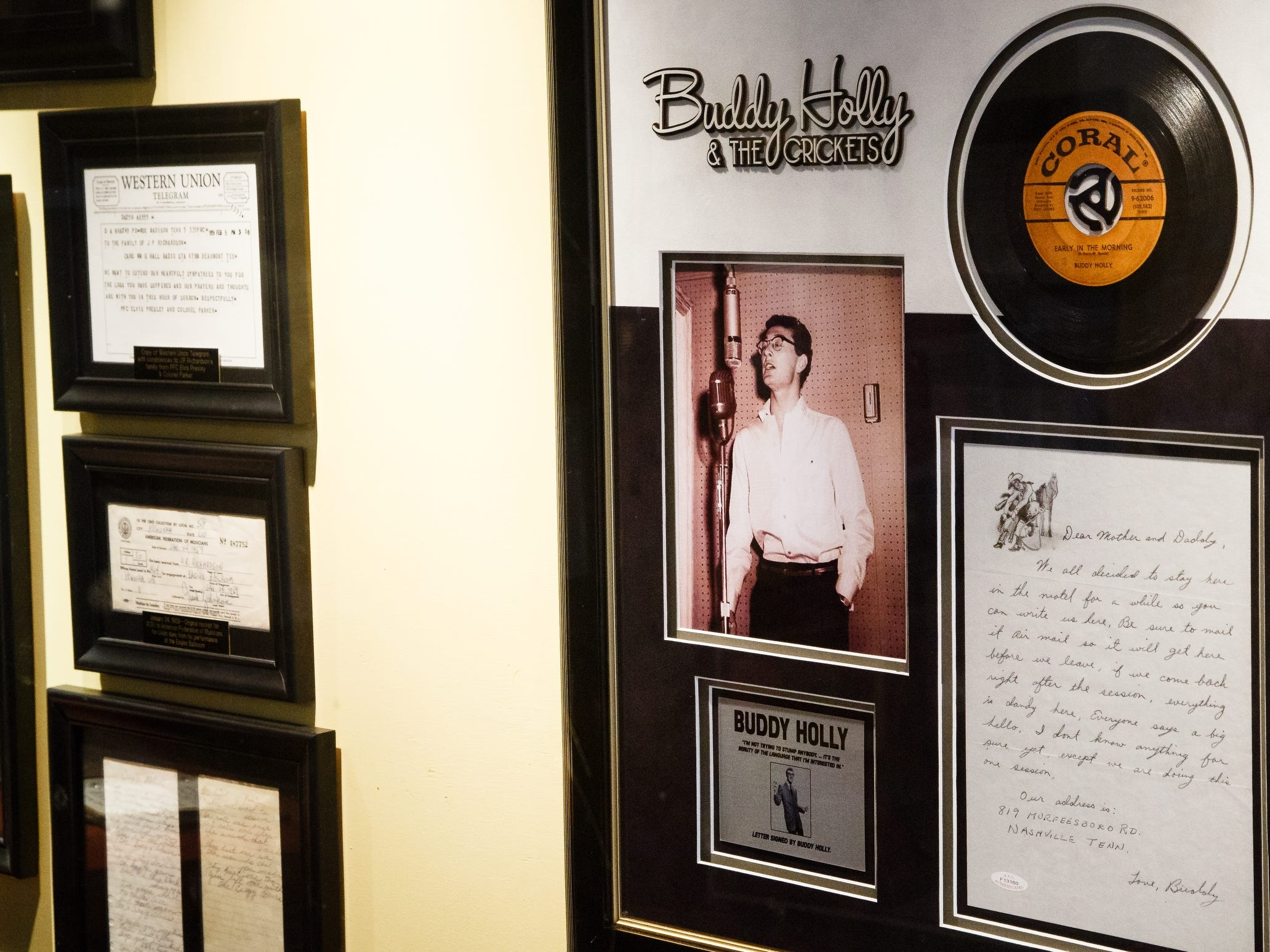 Memorabilia from Buddy Holly and the 1959 Winter Dance Party, including a telegram from Elivis, hang in the Surf Ballroom on Tuesday, Jan. 15, 2019, in Clear Lake.