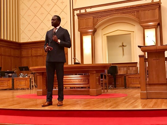 """Central Park Five"" exoneree Yusef Salaam speaks at First Christian Church in Des Moines, Iowa, on Monday, Jan. 21, 2019."