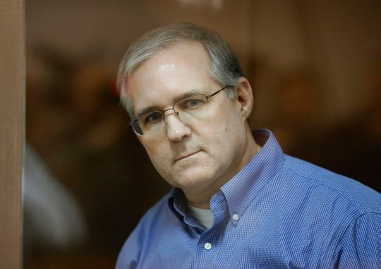 Suspected spy Paul Whelan is seen inside a defendant's glass cage during a hearing of an appeal on his arrest at the Moscow City Court in Moscow, Russia, on Jan. 22, 2019. Paul Whelan, a citizen of the United States, Britain, Canada and Ireland, was detained by Russian Federal Security Service on suspicion of spying at the end of December 2018 in Moscow.