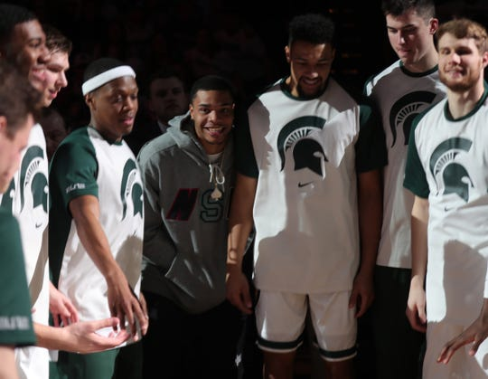 Former Michigan State guard Miles Bridges took part in the pregame ceremonies before action against Maryland Monday, January 21, 2019 at the Breslin Center in East Lansing, Mich.