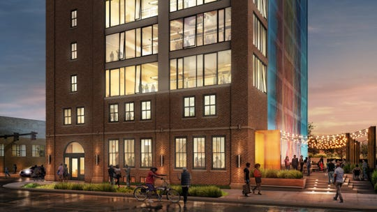 An artists rendering of Chroma, a project that plans to turn a historic cold storage building into a food hall and co-working space near Detroit's New Center.