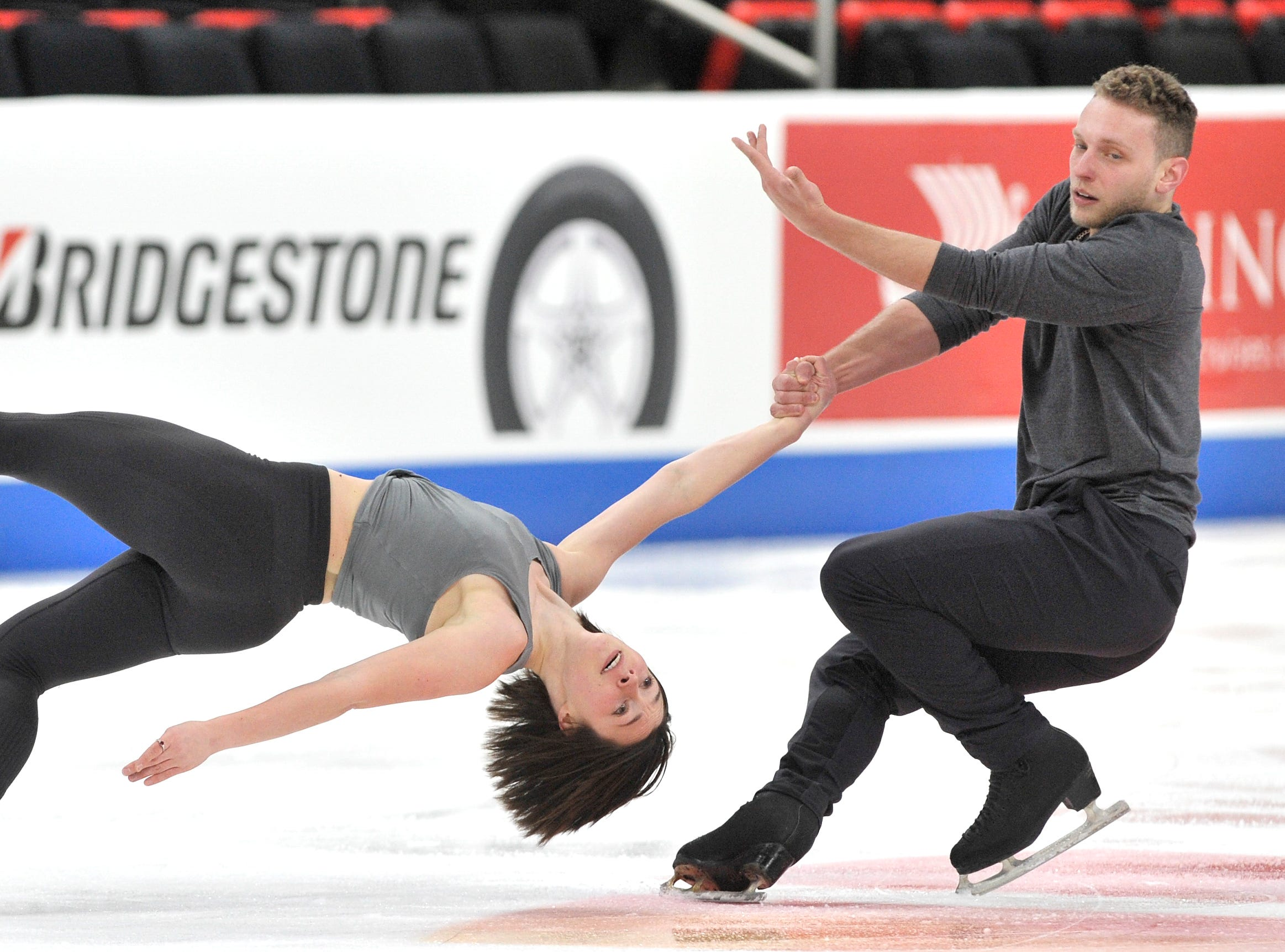 Pairs Allison Timlen and Justin Highgate-Brutman practice during the 2019 GEICO U.S. Figure Skating Championship at Little Caesars Arena in Detroit, Tuesday, January 22, 2019.