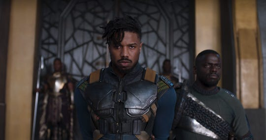 "Michael B. Jordan and Daniel Kaluuya in ""Black Panther"""