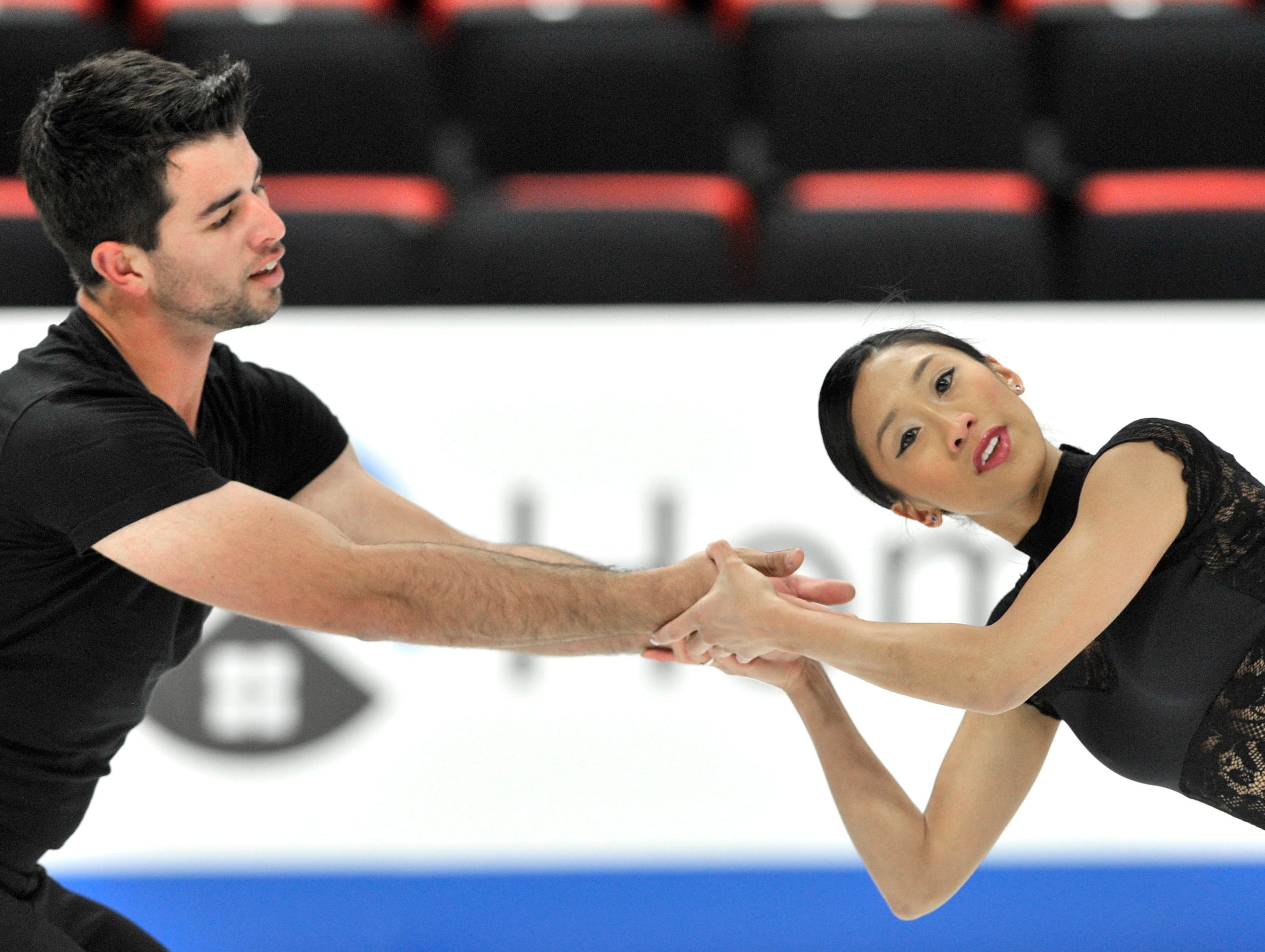 Pairs Jessica Calalang and Brian Johnson practice during the 2019 GEICO U.S. Figure Skating Championship at Little Caesars Arena in Detroit, Tuesday, January 22, 2019.