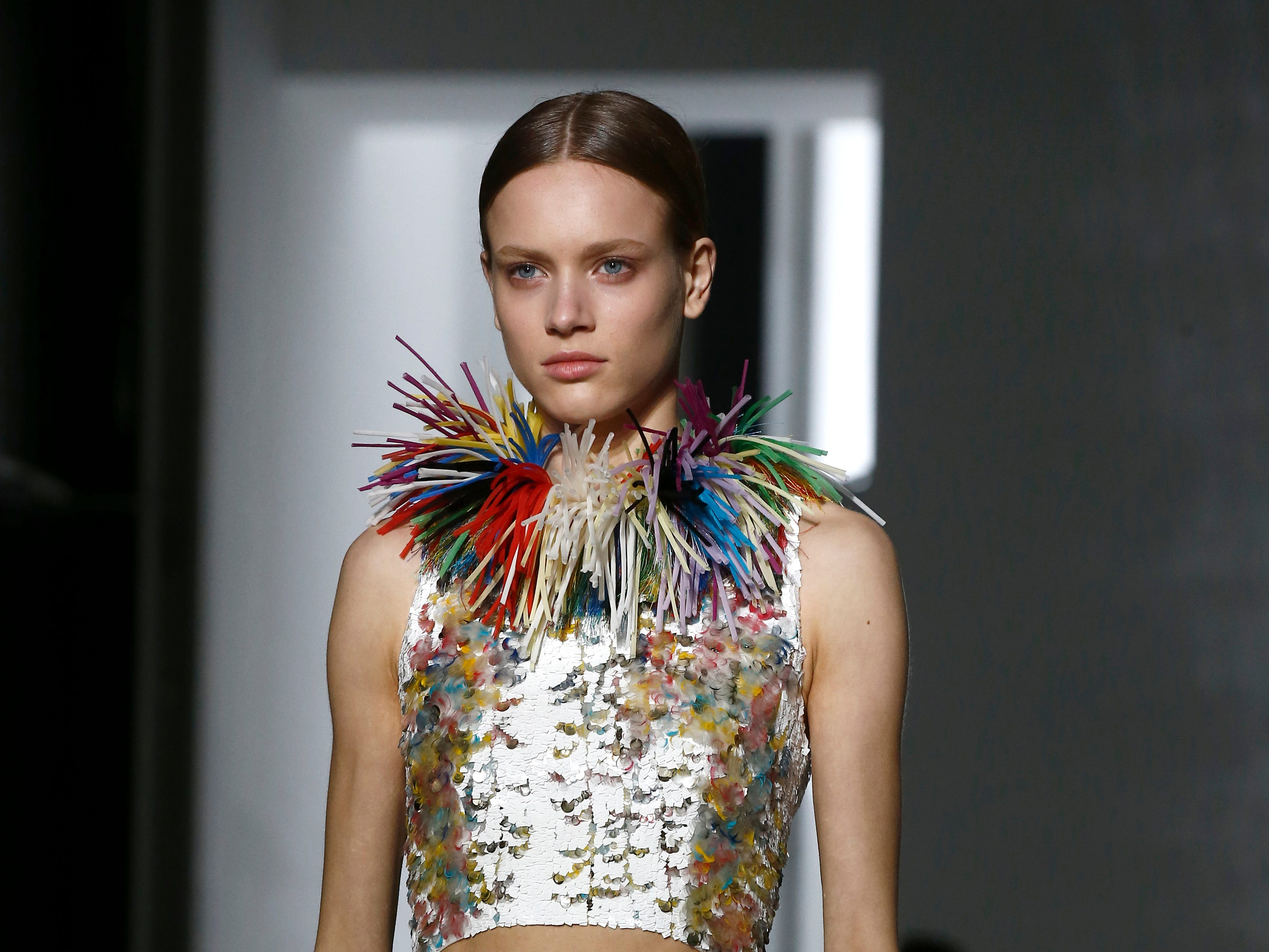A model wears a creation for the Givenchy Spring/Summer 2019 Haute Couture fashion collection presented in Paris, Tuesday, Jan. 22, 2019.