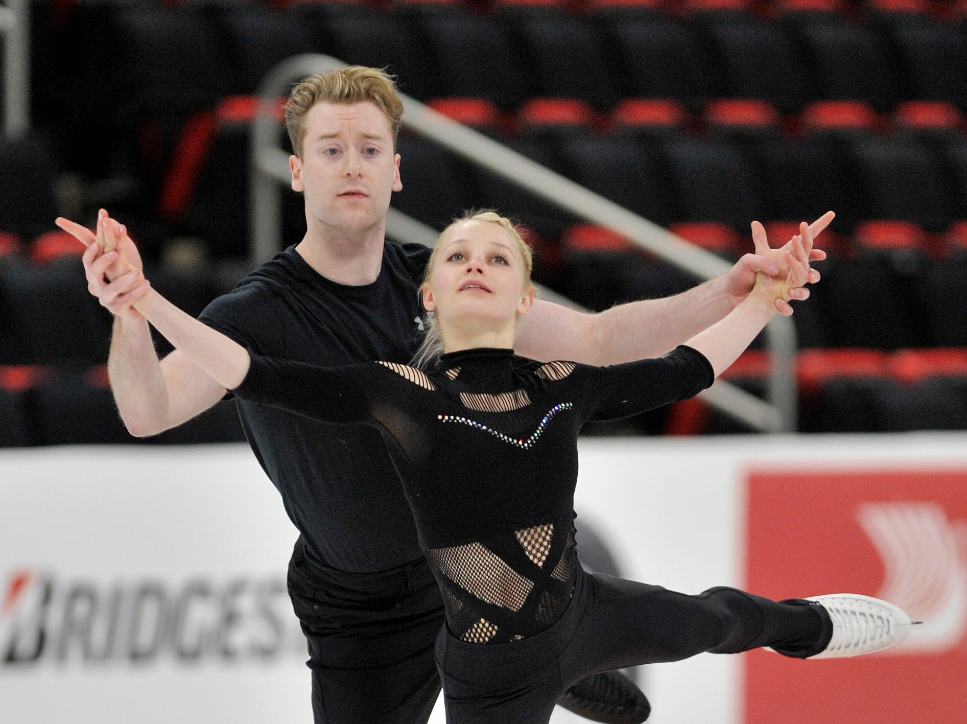 Pairs Nica Digerness and Danny Neudecker practice during the 2019 GEICO U.S. Figure Skating Championship at Little Caesars Arena in Detroit, Tuesday, January 22, 2019.