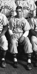 Allan Levy spent four years with the University of Michigan baseball team, finally pitching when he was a senior in 1955.