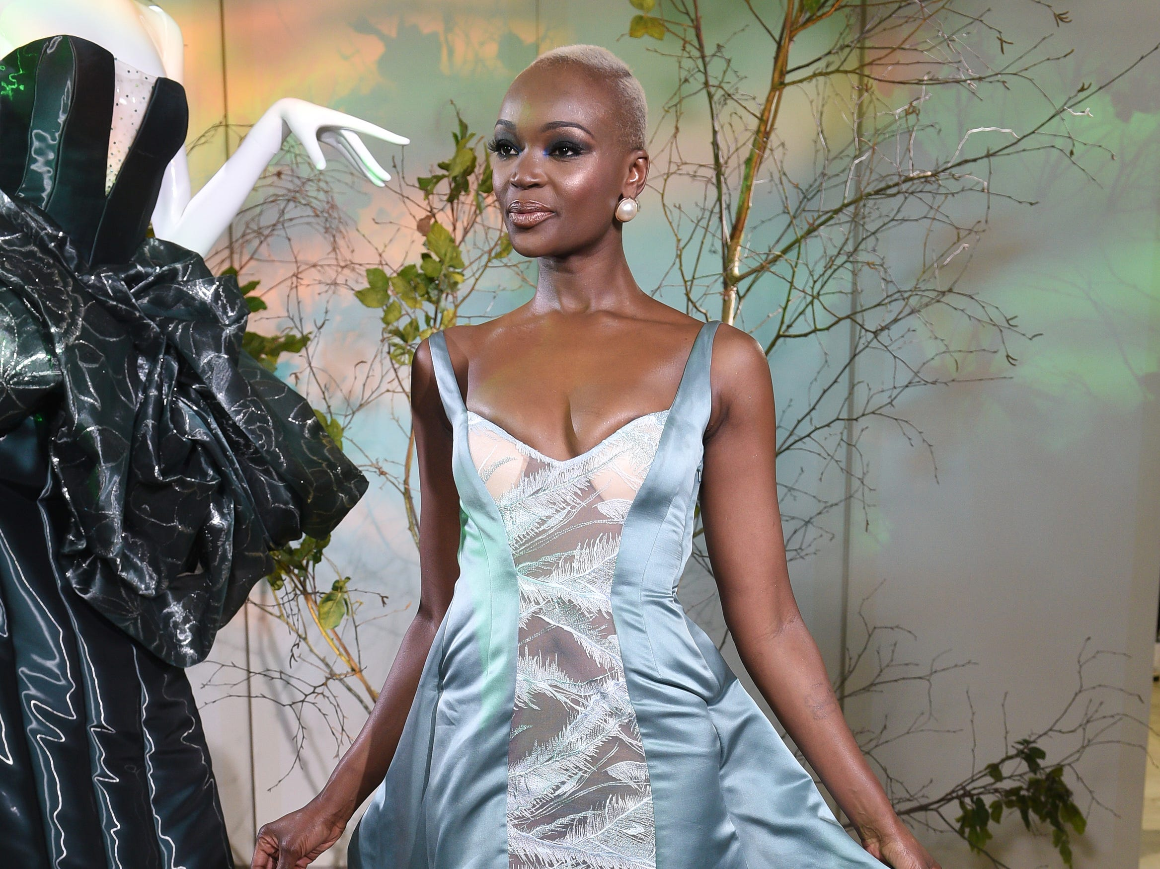Miss Tanzania attends the Gyunel presentation at the Ritz Hotel on Tuesday, Jan. 22, 2019 in Paris.