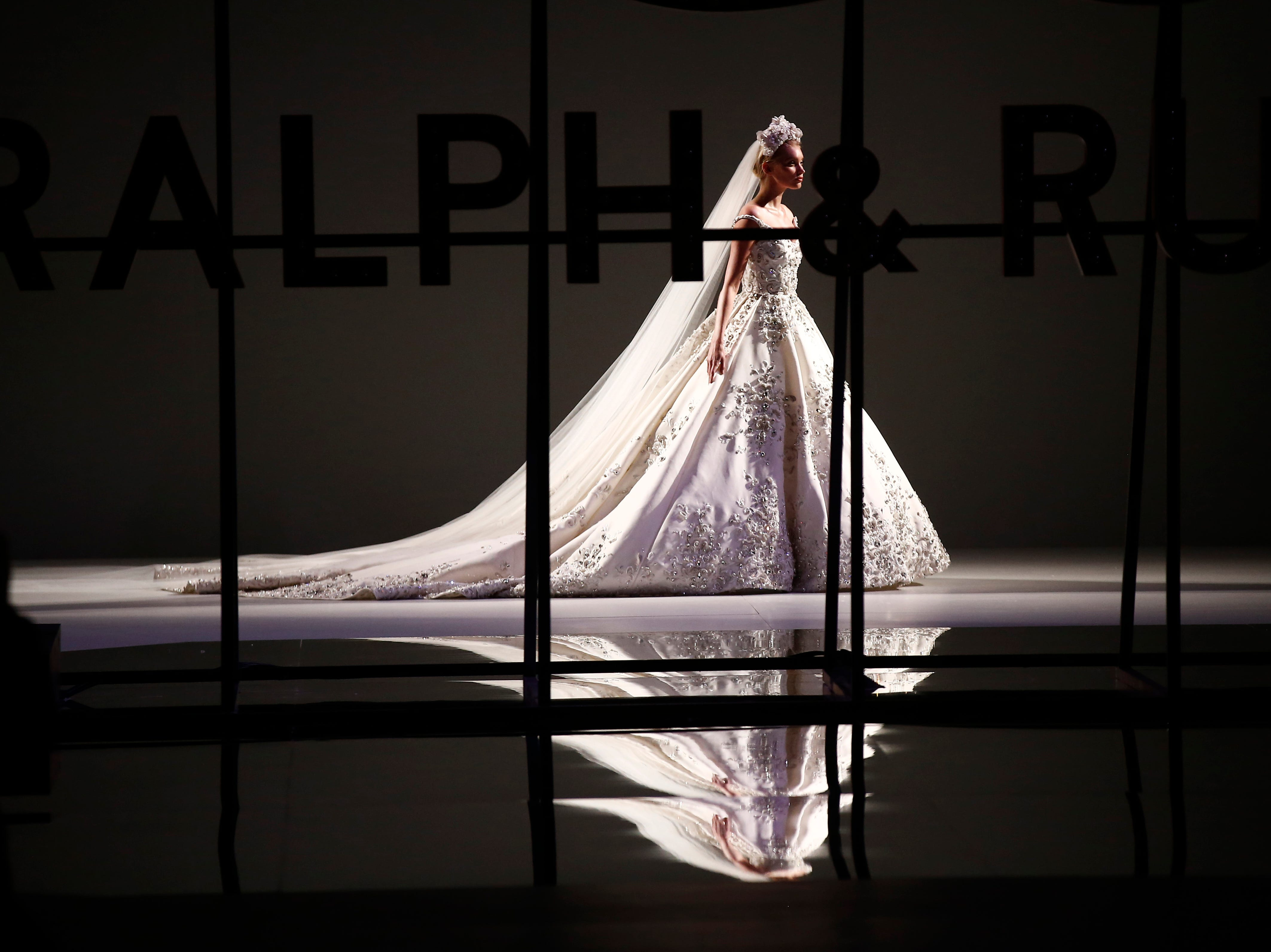 A model wears a creation for the Ralph & Russo Spring/Summer 2019 Haute Couture fashion collection presented in Paris, Monday, Jan. 21, 2019.