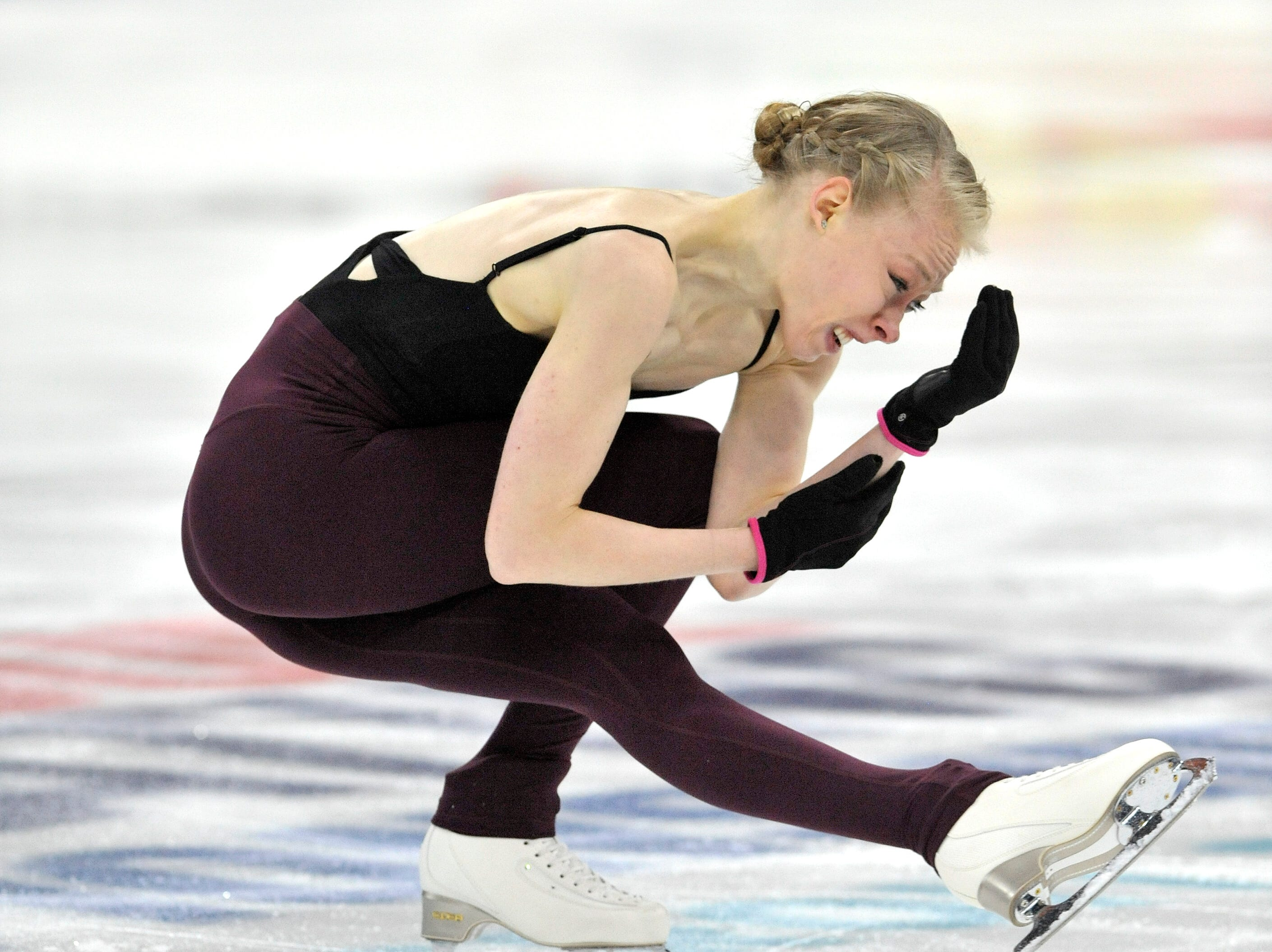 Ladies singles Bradie Tennell practices during the 2019 GEICO U.S. Figure Skating Championship at Little Caesars Arena in Detroit, Tuesday, January 22, 2019.