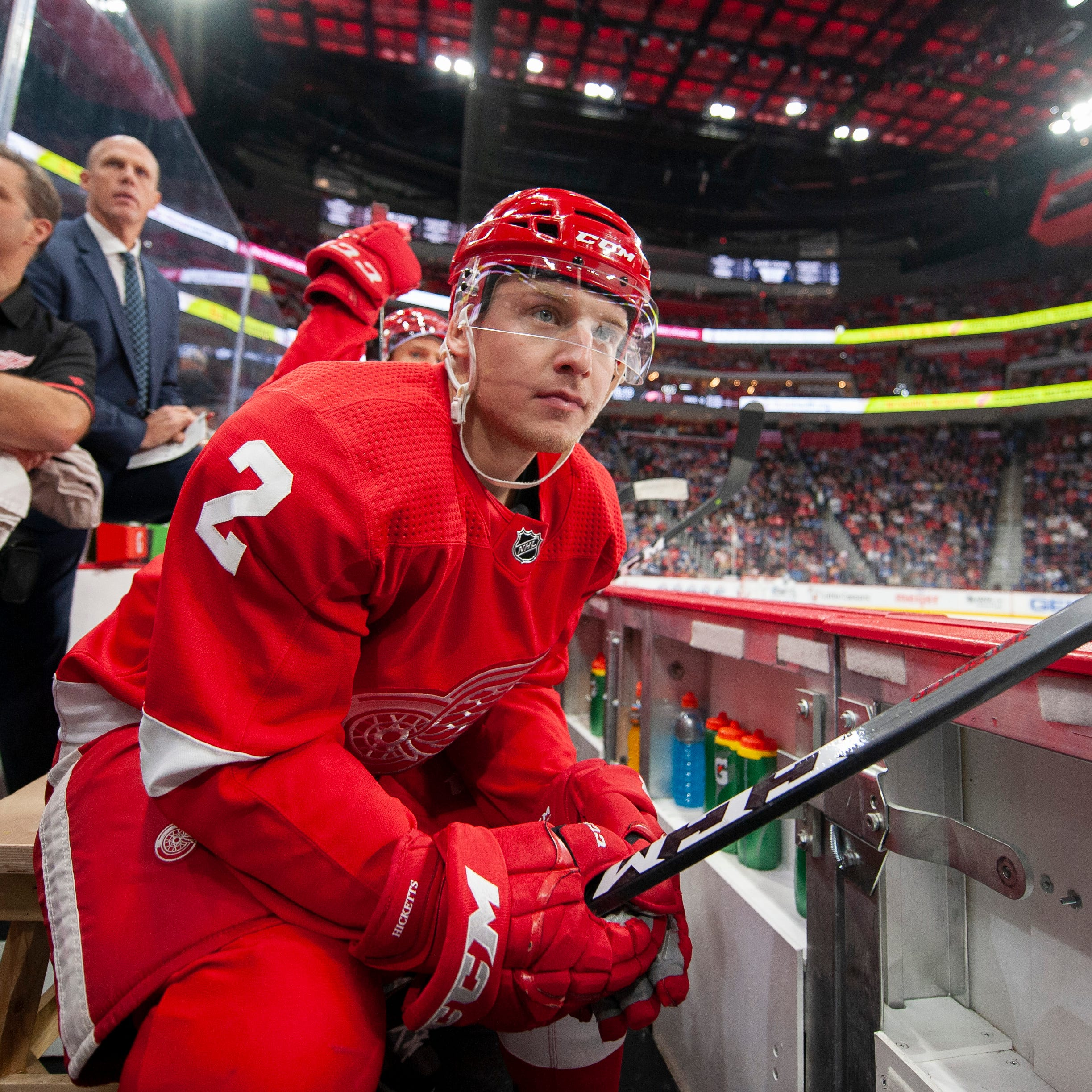 Joe Hicketts, Vili Saarijarvi vie to be part of long-term solution on Red Wings defense