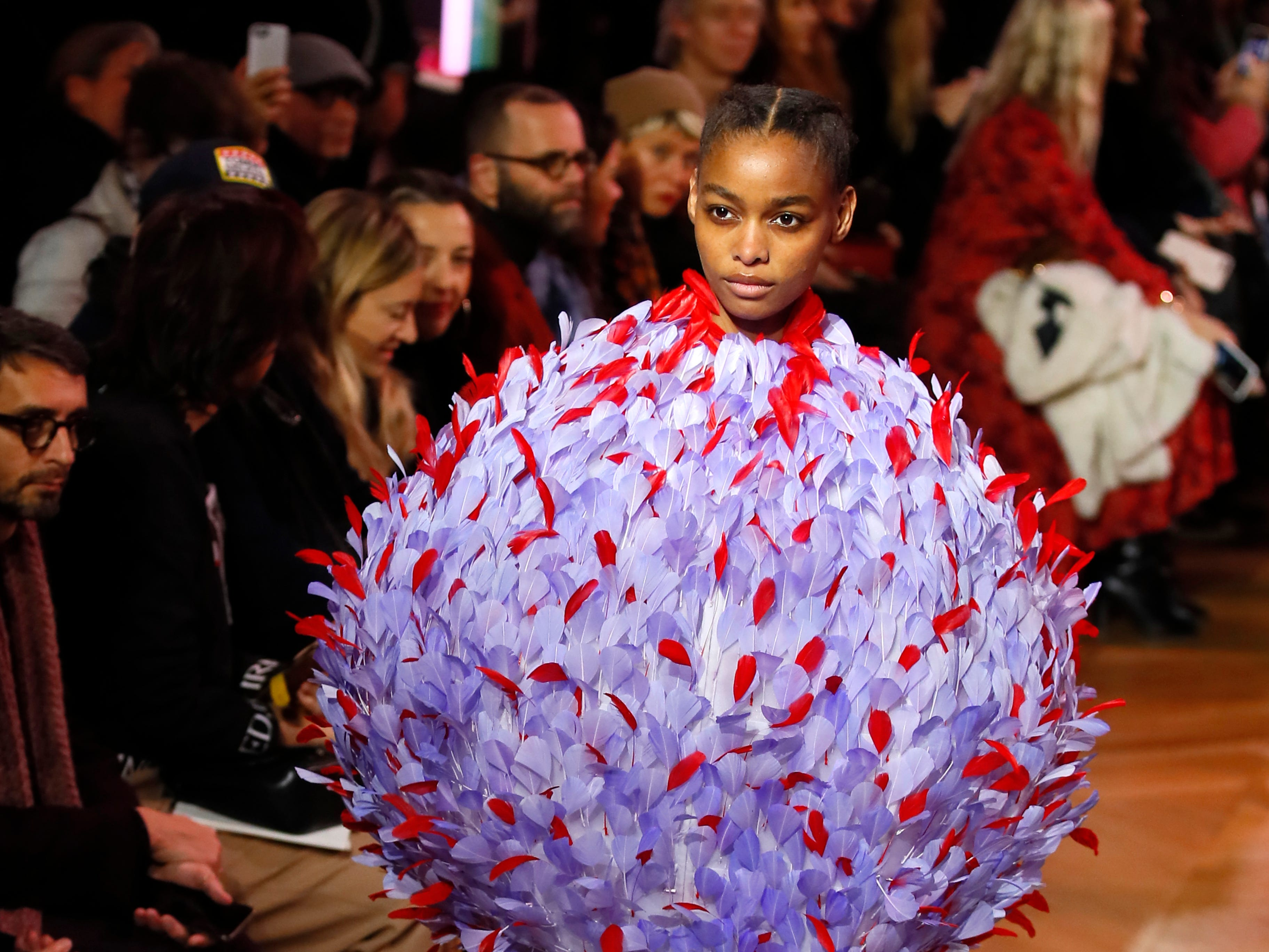A model wears a creation for Schiaparelli's Spring/Summer 2019 Haute Couture fashion collection presented in Paris, Monday, Jan. 21, 2019.