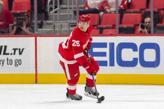 Red Wings defenseman prospect Vili Saarijarvi is a plus-5 in Grand Rapids.
