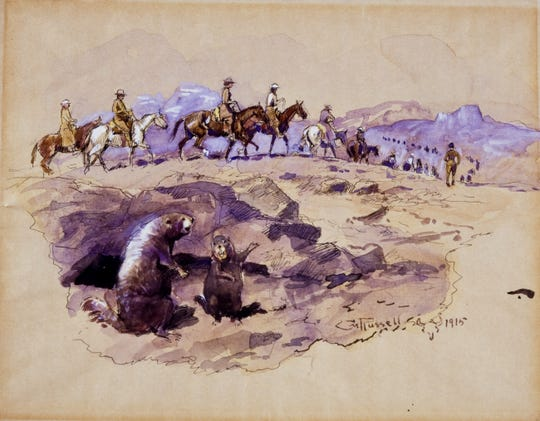 "Charles M. Russell's ""Dudes,"" a 1915 watercolor, pen and ink drawing on paper, was chosen for the Rockwell Museum's ""Favoritism"" exhibit by Tim Decker, the museum's registrar."