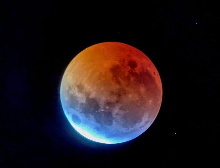 The lunar eclipse is seen in Colorado