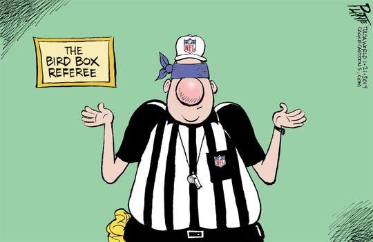 Bruce Plante Cartoon: NFL referees, National Football League, NFC Championship, bad calls, Super Bowl LIII, Kansas City Chiefs, New Orleans Saints, Los Angeles Rams, New England Patriots
