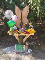 A memorial to Alana Tamplin depicting   butterfly wings was erected by her family days after she was hit and killed by a car near her home on Durrance Street in North Fort Myers.