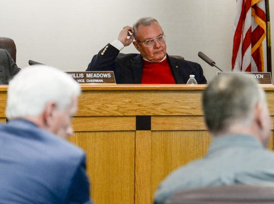 Greenville County Council Chairman Butch Kirven listens to County EMS Director Tim Gault, during the Greenville County Council meeting Tuesday, January 22, 2019.