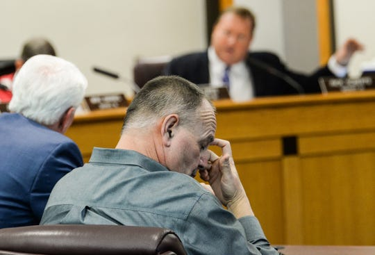 In this file photo, Greenville County EMS Director Tim Gault listens as County Councilman Rick Roberts voices his concerns about EMS operations to County Administrator Joseph Kernell during a special meeting on Tuesday, January 22, 2019.