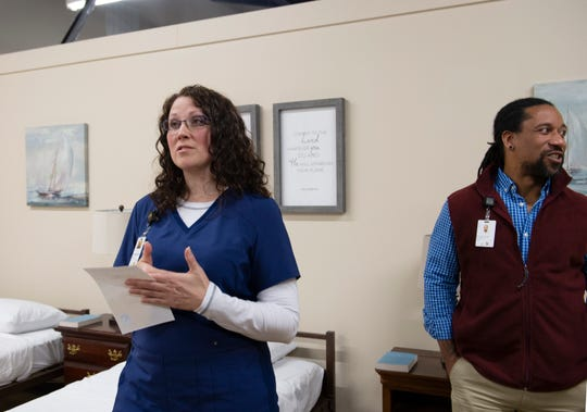 Kendal Seymore, a licensed practical nurse, and Brandon Cook, program manager the Health Care for the Homeless Program at New Horizon Family Health Services, answer questions about the new medical respite program at Miracle HillÕs Greenville Rescue Mission Tuesday, Jan. 22, 2019. Seymore is the medical respite nurse at the facility.