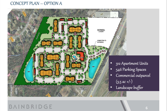 "A map shows the ""Option A"" potential site layout for a proposed luxury apartment and commercial development on North Main Street in Mauldin"