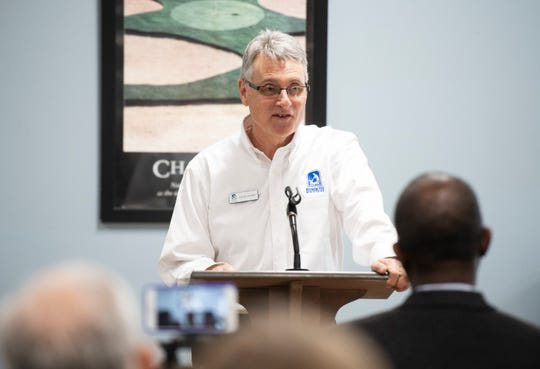 David Hanna, director of Miracle Hill's Greenville Rescue Mission, addresses the crowd gathered to see the medical respite program the location Tuesday, Jan. 22, 2019.