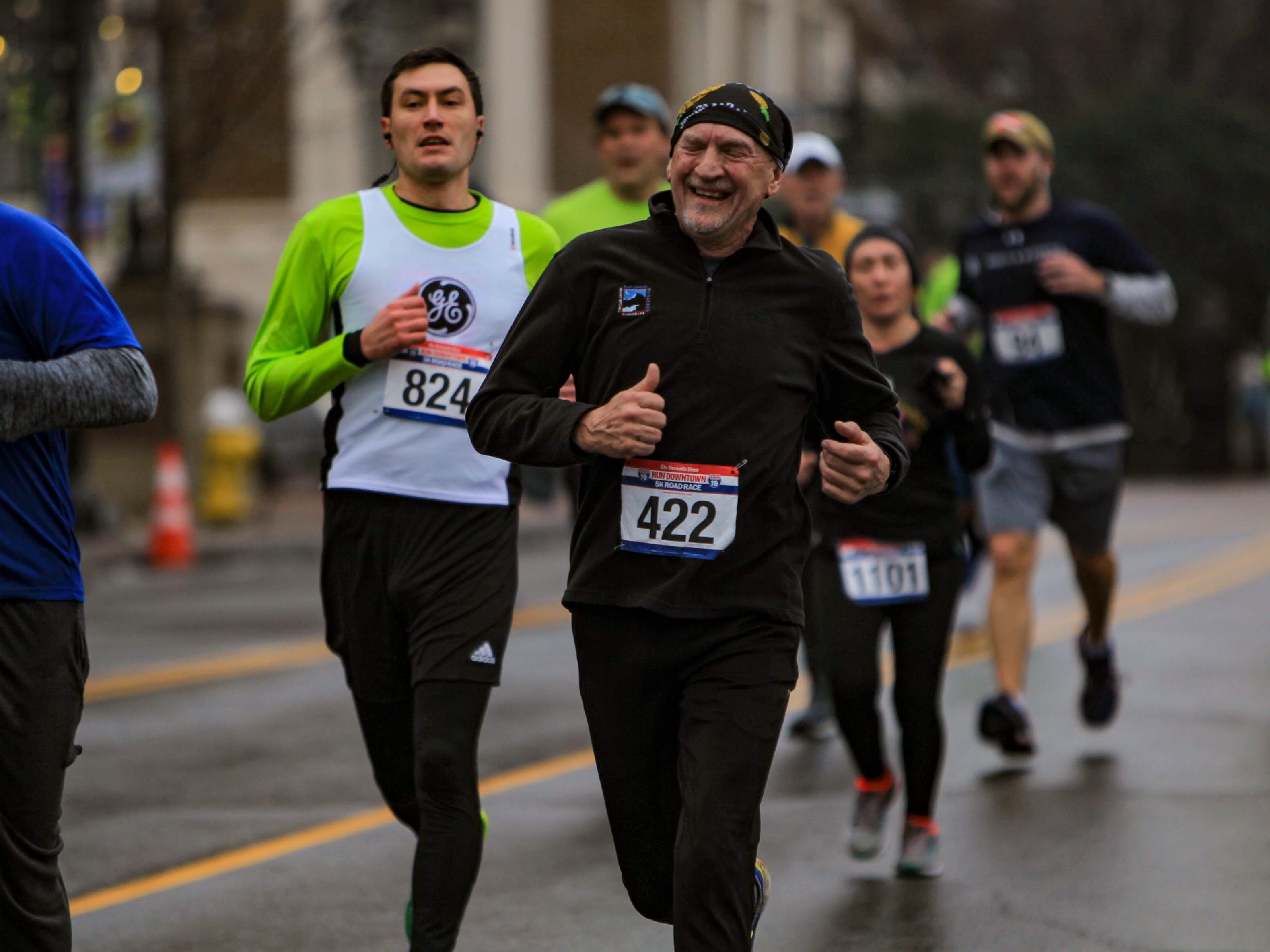 Runners approach the finish line at The Greenville News Run Downtown 5k on Jan. 19, 2019.