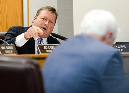 Rick Roberts, Greenville County Council District 21, voices his concern to Greenville County administrator Joseph Kernell about the need for money for EMS during the Greenville County Council meeting Tuesday, January 22, 2019.
