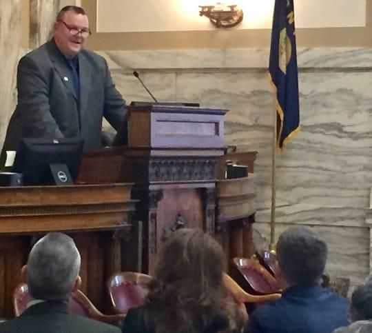 Sen. Jon Tester, D-Mont., speaks Tuesday to the  Montana House of Representatives.