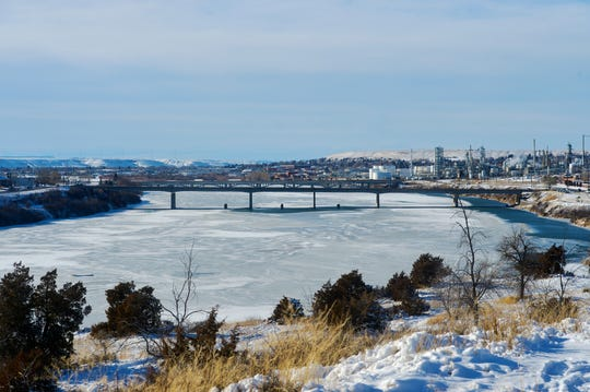 The 9th Street Bridge and ice-covered Missouri River as seen from Black Eagle.