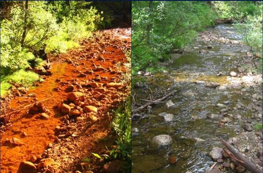 Before photo of Soda Butte Creek and after photo following cleanup.