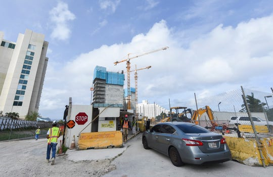 The construction site of the Tsubaki Tower hotel project in Tumon, Jan. 22, 2019.