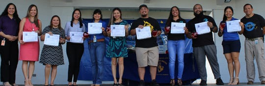 "Congratulations M.U. Lujan Elementary School's teachers who were voted as favorites by their students through Sylvan Learning Center's ""My Favorite Teacher."" M.U. Lujan Elementary School came in ninth place with the most student votes. Sylvan's Director, Crystal Nelson, presented each teacher with a  certificate on Dec. 13, 2018. From left: Natasha Dela Cruz (principal) ,LeAnn Pangelinan, Annette Raguindin, Debra Shimizu, Zena Sablan, Sam Reyo, Arlene Cruz, Dominic Uson, Dawn Topasna, Elias Taisipic (assistant principal)."