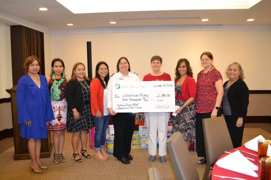 "The Guam Women's Club presented a $2,000 check to the Salvation Army for their Typhoon Yutu Relief efforts in the CNMI/Tinian. The check was presented at their general membership meeting on Dec. 14, 2018 at the Sheraton Laguna Resort. Proceeds were raised at GWC's ""A Taste of Fall"" fundraiser held at the Guam Museum in October. Pictured from left: Maricor Gerstenlauer – GWC member at large; Cari Nakagawa – GWC corresponding secretary; Angie Gibbons – GWC member at large; Joiz Salas – GWC recording secretary; Major Kim Stambaugh – Salvation Army; Nancy Weare – GWC education chair; Caroline H. Sablan- GWC president; Mary Lou Wheeler – GWC vice president; Loling Field – GWC treasurer."