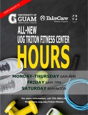 Gym goers at the UOG Triton Fitness Center will benefit from longer hours effective Jan. 22, 2019.