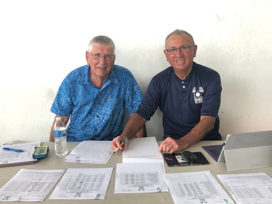 Guam Baseball and Softball Federation President Bob Steffy, left and tournament director Ray Brown lead a technical meeting of coaches and officials at the Paseo Stadium on Jan. 22. The U18 Baseball Confederation of Oceania Championships kick off tonight at the Paseo Stadium with 5 participants: Australia, New Zealand, American Samoa, Palau and Guam.  At 7 p.m. today, Guam faces Palau in the opener of the six-day tournament. The winner of this tournament earns the right to represent Oceania at the  Baseball World Championships which will be held later this year.
